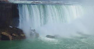 4K Niagria Falls Mist Cloud Waterfall Gulls Rainbow Pan Right