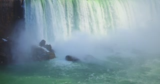 4K Niagria Falls Mist Cloud Waterfall Gulls Rainbow Rocks