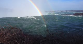 4K Niagria Falls Mist Cloud Waterfall Gulls Water Flowing Over Edge Rainbow