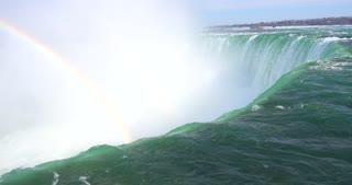 4K Niagria Falls Mist Cloud Waterfall Gulls Water Flowing Over Edge