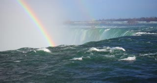 4K Niagria Falls Mist Cloud Waterfall Gulls Water Flowing Over Rainbow