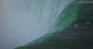 4K Niagria Falls Mist Cloud Waterfall Tight Shot Water Flowing Over Edge