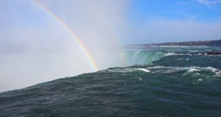 4K Niagria Falls Mist Cloud Waterfall Water Flowing Over Edge Rainbow