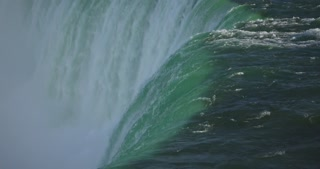 4K Niagria Falls Mist Cloud Waterfall Water Flowing Over Edge Tight Shot