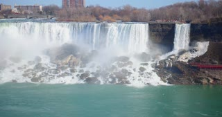 4K Niagria Falls Mist Cloud Waterfall Wide Shot Water Flowing Rapids Gulls Mid Shot Pan Down
