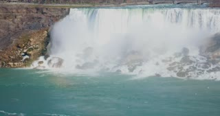 4K Niagria Falls Mist Cloud Waterfall Wide Shot Water Flowing Rapids Gulls Mid Shot Pan Right