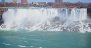 4K Niagara Falls Mist Cloud Waterfall Wide Shot Water Flowing Rapids Gulls Mid Shot