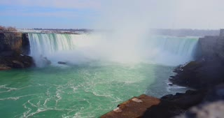 4K Niagria Falls Mist Cloud Waterfall Wide Shot Water Flowing Rapids Gulls