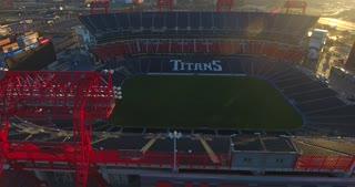4K Nissan Stadium Tennessee Titans Football Game Sunrise Jib Shot Circle Right