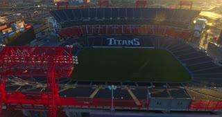 4K Nissan Stadium Tennessee Titans Football Game Sunrise Jib Shot Pull Back