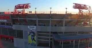 4K Nissan Stadium Tennessee Titans Football Game Sunrise Jib Shot Rising Circle Right