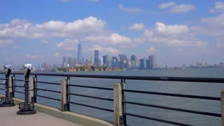 4K Nyc Skyline Slider Shot Liberty State Park Freedom Urban New York City