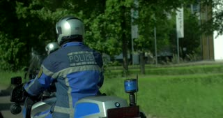 4K Police Motorcycle Squad Passing Camera Germany