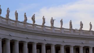 4K Saint Peters Basilica In Rome Pan Right Statues On Pillars