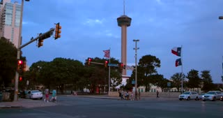 4K San Antonio Gimbal Shot Tower Of The Americas Jib Down City Wide Shot Texas Flag Traffic Intersection