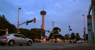 4K San Antonio Slider Shot Tower Of The Americas City Wide Shot Texas Flag Traffic