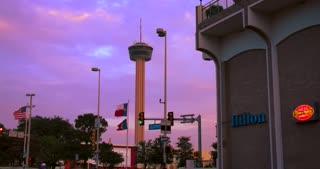 4K San Antonio Sunset Gimbal Shot City Trafic Tower Of The Americas Pan Up