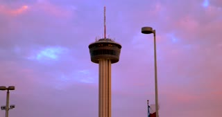 4K San Antonio Sunset Tower Of The Americas Gimbal Shot City Tight Shot