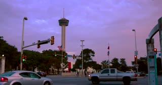 4K San Antonio Sunset Tower Of The Americas Jib Down City Wide Shot Texas Flag Traffic