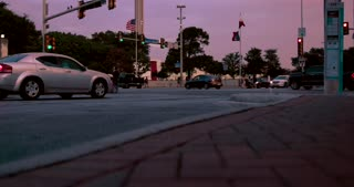 4K San Antonio Sunset Tower Of The Americas Jib Pan Up City Wide Shot Texas Flag