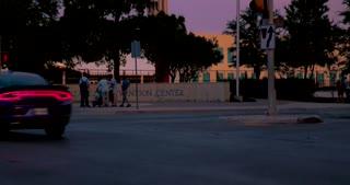 4K San Antonio Sunset Tower Of The Americas Pan Up City Tight Shot