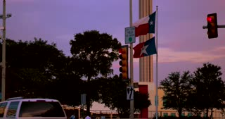 4K San Antonio Sunset Tower Of The Americas Pan Up Gimbal Shot City Tight Shot