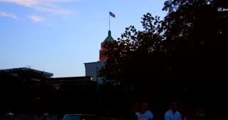 4K San Antonio Tower Life Building Gimbal Shot Reveal City Texas Flag Traffic
