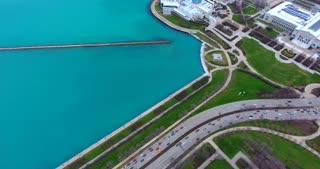 4K Shedd Aquarium Adler Planetarium Chicago Buildings City Urban Lake Michigan Water Flyover Pan Up