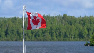4K Slow Mo Canadan Flag Wilderness Flapping In The Breeze Quetico