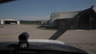 4K Small Airplane Engine Starting Up Beachcraft Musketeer Airport Propeller