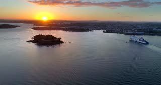 4K Sunset Plymouth England Aerial Ocean Drakes Island Brittany Ferries Ferry