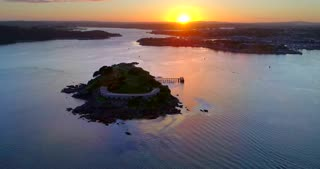 4K Sunset Plymouth England Aerial Ocean Drakes Island Military Navy Wwii Nuclear Bunkers World War Barracks
