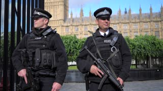 4K Police Slow Mo London Paralament Big Ben Officers Guards Gun Rifle Gimbal Shot