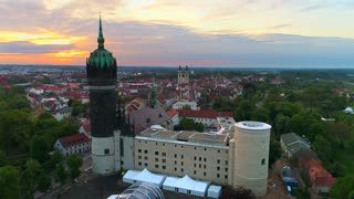 4K Wittenberg Castle Church Circle Shot Sunrise Protestant Reformation 500 Year Celebration