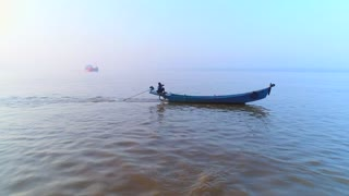 Aerial Asian Fishing Boats River Canoe Sunrise Cinematic Selling Fish Drone