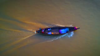 Aerial Asian Fishing Top Down Boats River Canoe Sunrise Cinematic Drone