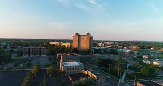 Aerial Battle Creek Michigan Usa Federal Center Industry Military Town Cinematic Drone