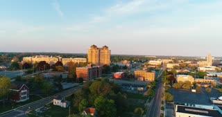 Aerial Battle Creek Michigan Usa Federal Center Town Cinematic Drone