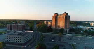 Aerial Battle Creek Michigan Usa Kellogg Sanitarium Sda Seventh Day Adventist Dime Tabernacle History Drone