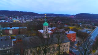 Aerial Bethlehem Pa Central Moravian Church Moravian Mission Outpost Flyover Pennsylvania City