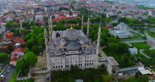 Aerial Blue Mosque Istanbul Turkey Basilica Orbit Establishing Shot