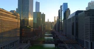 Aerial Chicago Illinois Cinematic Sun Flare Skyscrapers Urban City Drone