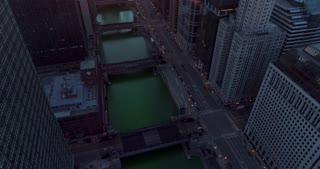 Aerial Chicago Illinois Green River St Patricks Day Sunrise Skyline Cinematic Skyscrapers Urban