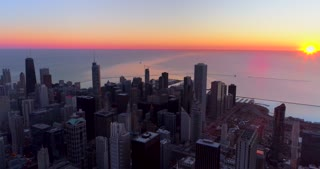 Aerial Chicago Illinois Skyline At Sunrise Helicopter Tour