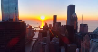 Incredible Chicago Illinois Aerial Skyline Sunrise Skyscrapers Urban