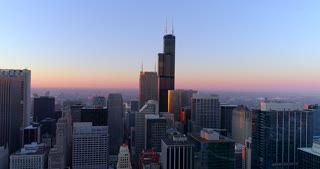 Aerial Chicago Illinois Skyline Willis Tower At Sunrise Helicopter Tour