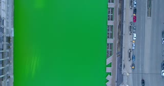 Drone Chicago River Dyed Green Illinois Cinematic Skyscrapers Urban City Aerial
