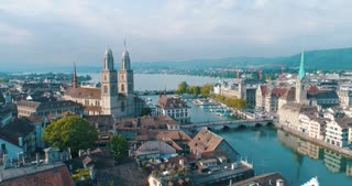 Aerial Church Zurich Switzerland Sweeping Over City Reformation History Grossmunster Aerial Cinematic Drone