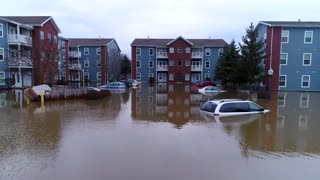 Aerial Drone Flooded Cars Apartments River Rain Natural Disaster Drone