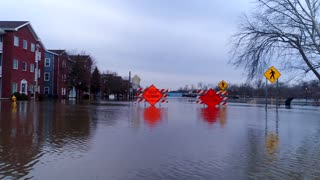 Aerial Drone Flooding River Water Damage Drone